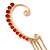 1 Pc Red Crystal Ear Cuff With Comb In Gold Plating - Only For The Right Ear - view 3
