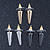 3 Pairs Gold, Silver & Hematite Colour Spike Stud Earring Set - 18mm Width - view 2