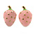 Children's/ Teen's / Kid's Small Baby Pink Enamel 'Strawberry' Stud Earrings In Gold Plating - 13mm Length