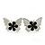 Teen Rhodium Plated Black Crystal 'Butterfly' Stud Earrings - 15mm Width - view 2