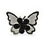 Teen Rhodium Plated Black Crystal 'Butterfly' Stud Earrings - 15mm Width - view 6