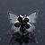 Teen Rhodium Plated Black Crystal 'Butterfly' Stud Earrings - 15mm Width - view 3