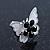 Teen Rhodium Plated Black Crystal 'Butterfly' Stud Earrings - 15mm Width - view 4