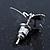 Teen Rhodium Plated Black Crystal 'Butterfly' Stud Earrings - 15mm Width - view 5