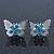 Teen Rhodium Plated Azure Crystal 'Butterfly' Stud Earrings - 15mm Width