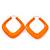 Large Matte Acrylic Square Doorknocker Hoop Earrings in Neon Orange - 6cm Diamete - view 5