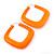 Large Matte Acrylic Square Doorknocker Hoop Earrings in Neon Orange - 6cm Diamete - view 2