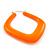 Large Matte Acrylic Square Doorknocker Hoop Earrings in Neon Orange - 6cm Diamete - view 3