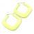 Large Matte Acrylic Square Doorknocker Hoop Earrings in Neon Yellow - 6cm Diameter - view 2