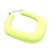 Large Matte Acrylic Square Doorknocker Hoop Earrings in Neon Yellow - 6cm Diameter - view 3