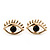 Teen Gold Plated 'Eyes' With Black Crystal Stud Earrings - 14mm Width