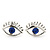 Teen Rhodium Plated 'Eyes' With Blue Crystal Stud Earrings - 14mm Width - view 5