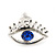 Teen Rhodium Plated 'Eyes' With Blue Crystal Stud Earrings - 14mm Width - view 6