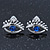 Teen Rhodium Plated 'Eyes' With Blue Crystal Stud Earrings - 14mm Width - view 8