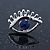 Teen Rhodium Plated 'Eyes' With Blue Crystal Stud Earrings - 14mm Width - view 3