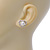 Classic Simulated Pearl Crystal Heart Stud Earrings In Silver Tone - 15mm Width - view 3