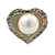 Classic Simulated Pearl Crystal Heart Stud Earrings In Silver Tone - 15mm Width - view 5