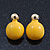 Teen Yellow Enamel Dome Shaped Stud Earrings In Gold Plating - 20mm Length