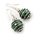 Silver Tone Dark Green Faux Pearl Drop Earrings - 4cm Drop