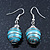 Silver Tone Light Blue Faux Pearl Drop Earrings - 4cm Drop - view 3