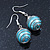 Silver Tone Light Blue Faux Pearl Drop Earrings - 4cm Drop - view 4