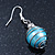 Silver Tone Light Blue Faux Pearl Drop Earrings - 4cm Drop - view 5