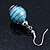 Silver Tone Light Blue Faux Pearl Drop Earrings - 4cm Drop - view 6