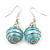 Silver Tone Light Blue Faux Pearl Drop Earrings - 4cm Drop - view 2
