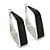 Contemporary Square Black Enamel Hoop Earrings In Rhodium Plating - 40mm Width - view 2