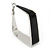 Contemporary Square Black Enamel Hoop Earrings In Rhodium Plating - 40mm Width - view 3