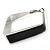 Contemporary Square Black Enamel Hoop Earrings In Rhodium Plating - 40mm Width - view 5