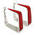 Contemporary Square Red Enamel Hoop Earrings In Rhodium Plating - 40mm Width