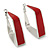 Contemporary Square Red Enamel Hoop Earrings In Rhodium Plating - 40mm Width - view 6