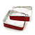 Contemporary Square Red Enamel Hoop Earrings In Rhodium Plating - 40mm Width - view 2