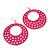 Large Lightweight Fuchsia Enamel Hoop Earrings In Rhodium Plating - 8cm Drop