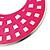 Large Lightweight Fuchsia Enamel Hoop Earrings In Rhodium Plating - 8cm Drop - view 3