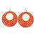 Large Lightweight Neon Orange Enamel Hoop Earrings In Rhodium Plating - 8cm Drop - view 2