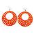 Large Lightweight Neon Orange Enamel Hoop Earrings In Rhodium Plating - 8cm Drop - view 2
