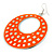 Large Lightweight Neon Orange Enamel Hoop Earrings In Rhodium Plating - 8cm Drop - view 3