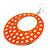 Large Lightweight Neon Orange Enamel Hoop Earrings In Rhodium Plating - 8cm Drop - view 3
