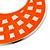 Large Lightweight Neon Orange Enamel Hoop Earrings In Rhodium Plating - 8cm Drop - view 4