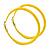 Large Yellow Enamel Hoop Earrings In Silver Tone - 60mm Diameter