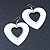 Large White Enamel 'Heart' Hoop Earrings In Rhodium Plating - 70mm Drop