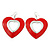 Large Red Enamel 'Heart' Hoop Earrings In Rhodium Plating - 70mm Drop - view 2