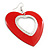 Large Red Enamel 'Heart' Hoop Earrings In Rhodium Plating - 70mm Drop - view 3