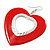 Large Red Enamel 'Heart' Hoop Earrings In Rhodium Plating - 70mm Drop - view 4