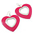 Large Fuchsia Enamel 'Heart' Hoop Earrings In Rhodium Plating - 70mm Drop