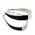 Rhodium Plated Black Enamel Oval Hoop Earrings - 6cm Length - view 2