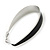 Rhodium Plated Black Enamel Oval Hoop Earrings - 6cm Length - view 3