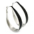 Rhodium Plated Black Enamel Oval Hoop Earrings - 6cm Length - view 4